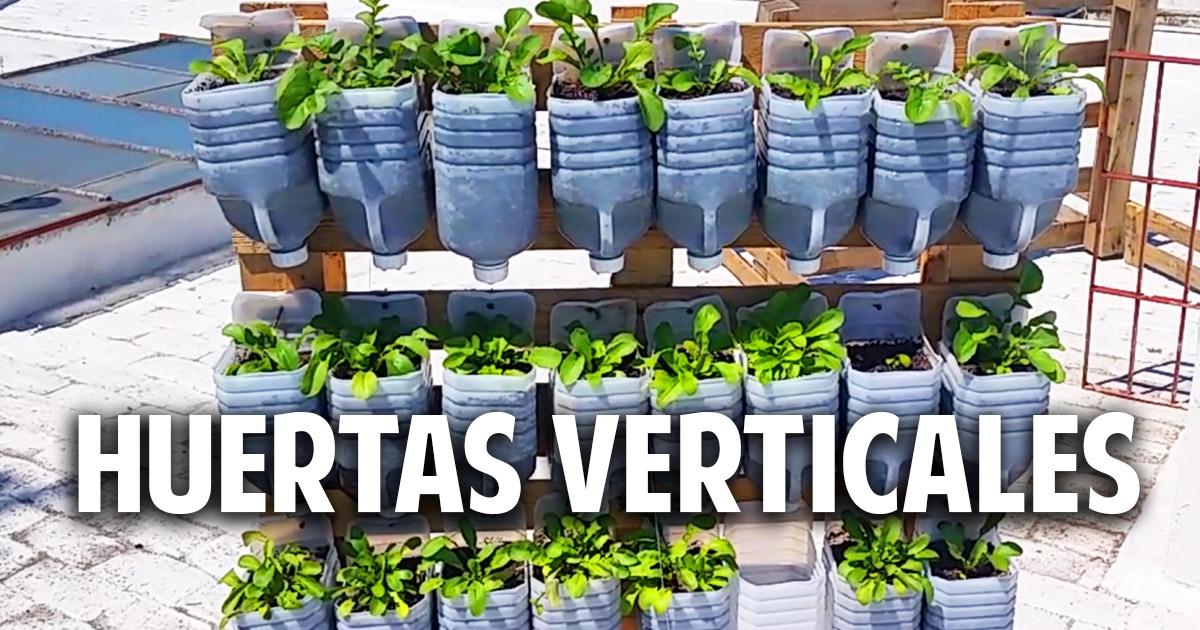 3 huertas verticales geniales con materiales reciclados for Materiales para jardines verticales