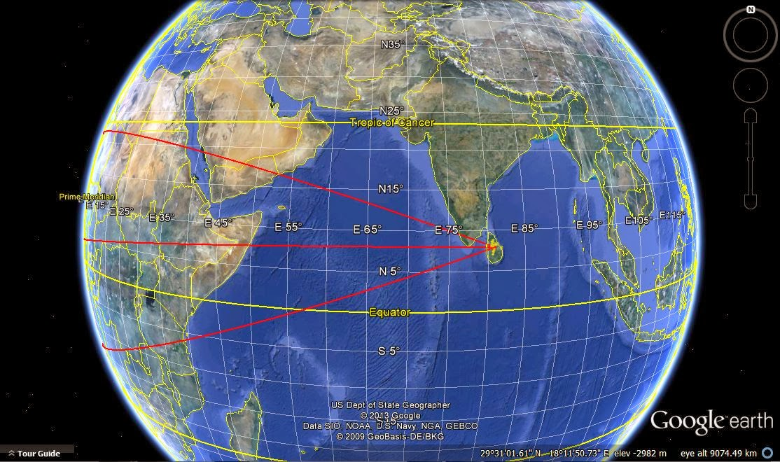 direction, axis of symmetry of cultural triangle, Sri Lanka on Google Earth