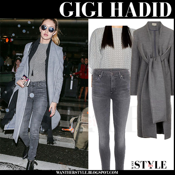 Gigi Hadid in grey wool lavish alice coat and grey skinny citizens of humanity rocket jeans what she wore model style