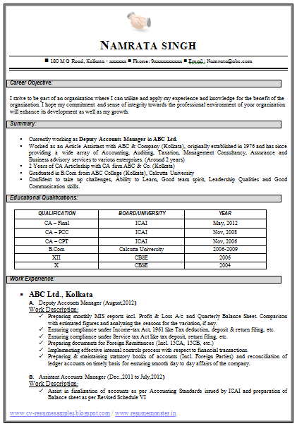 Resume Resume Format Doc For Ca Over 10000 Cv And Resume Samples With Free  Download Chartered