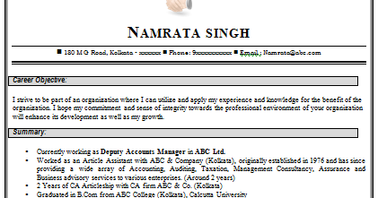 Sample resume format for fresher chartered accountant