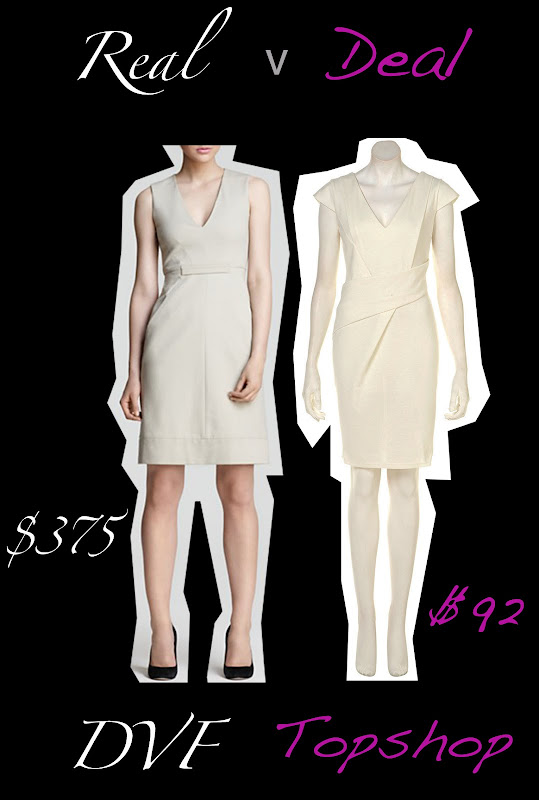 DVF white sheath dress verses Topshop white sheath dress