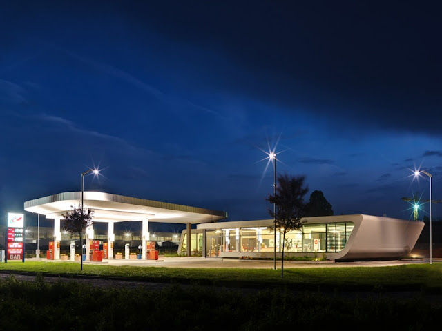 Gazoline Petrol Station by Damilano Studio Architects on the sunset