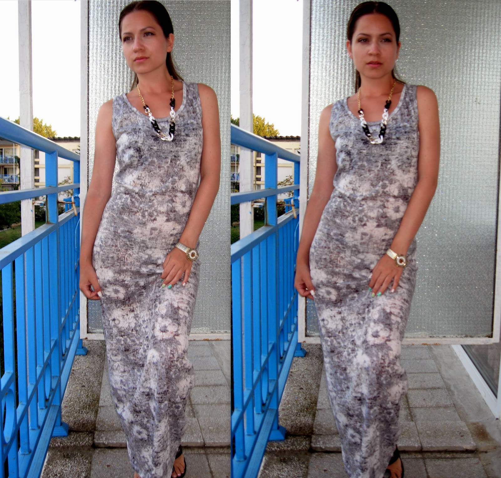 long maxi grey dress with white floral print, statement necklace,