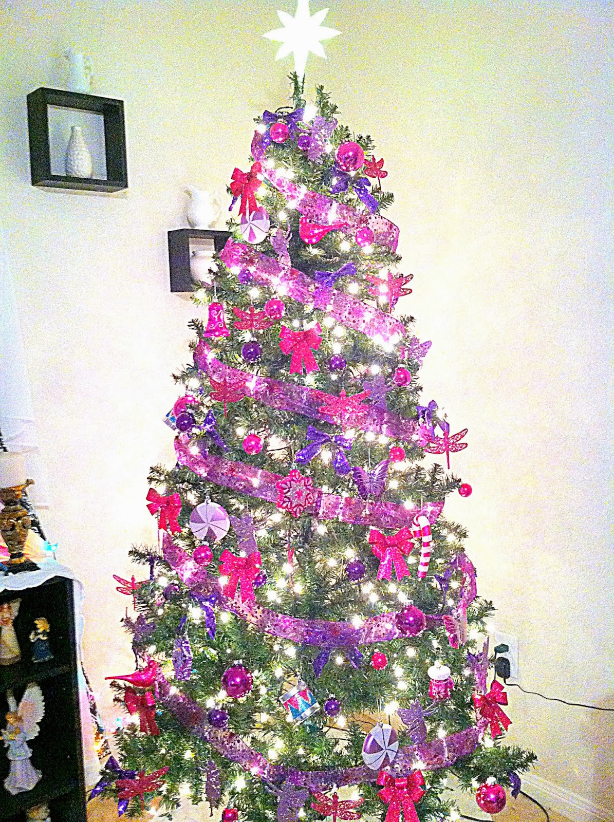 Home amp garden christmas tree color theme pink and purple