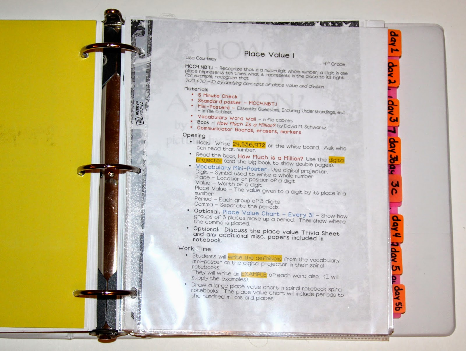 Mrs. C\'s Classroom: Lesson Plan Notebook Organization