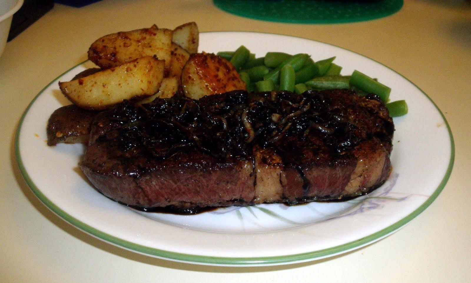 Rib Steak with Balsamic Glaze and Onion Relish