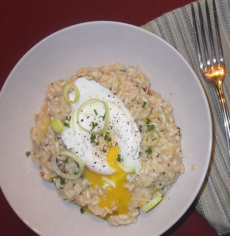 Bacon and Leek Risotto with Poached Egg from Bon Appetit Magazine ...