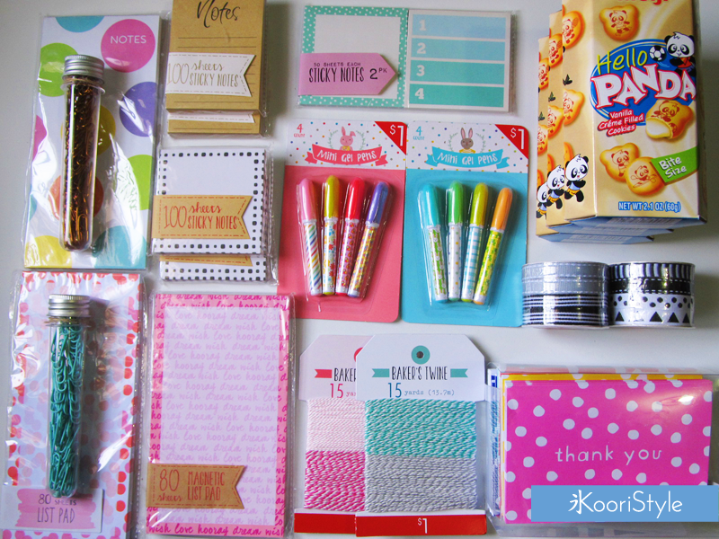 Koori KooriStyle Kawaii Cute Planner Planner Goods Goodies Target Michael's Walmart Haul Washi Tape Sticky Notes Ribbon