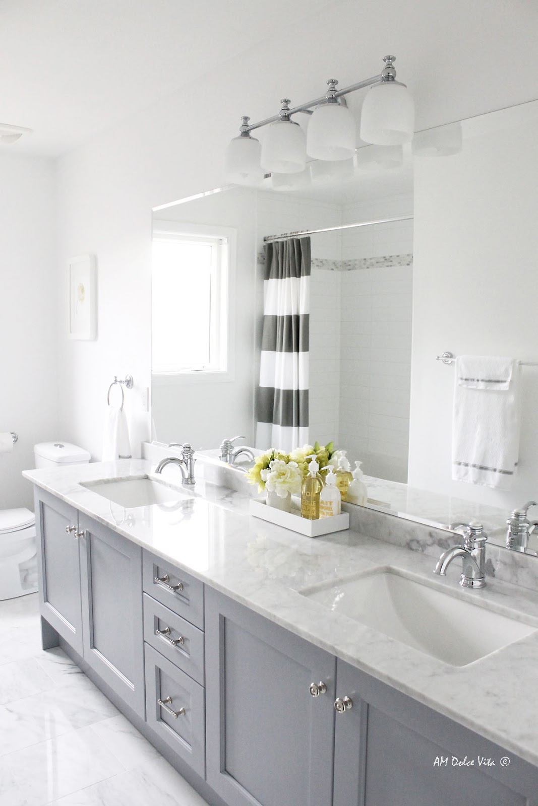 Chantilly lace and pigeon gray favorite paint colors for Grey paint bathroom ideas
