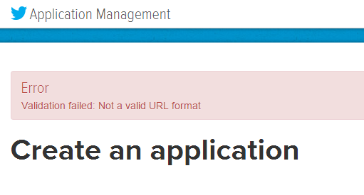 Twitter App Not A Vlaid URL Solved