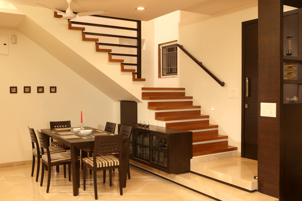 Interior designing portfolio residential interiors for mr for Dining room under stairs