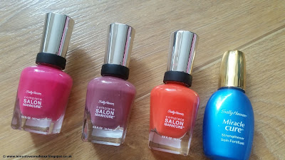 Sally Hansen, Complete Salon Manicure, nails, haul, review, Back to the Fucshia, Fiery Island, Plums The Word