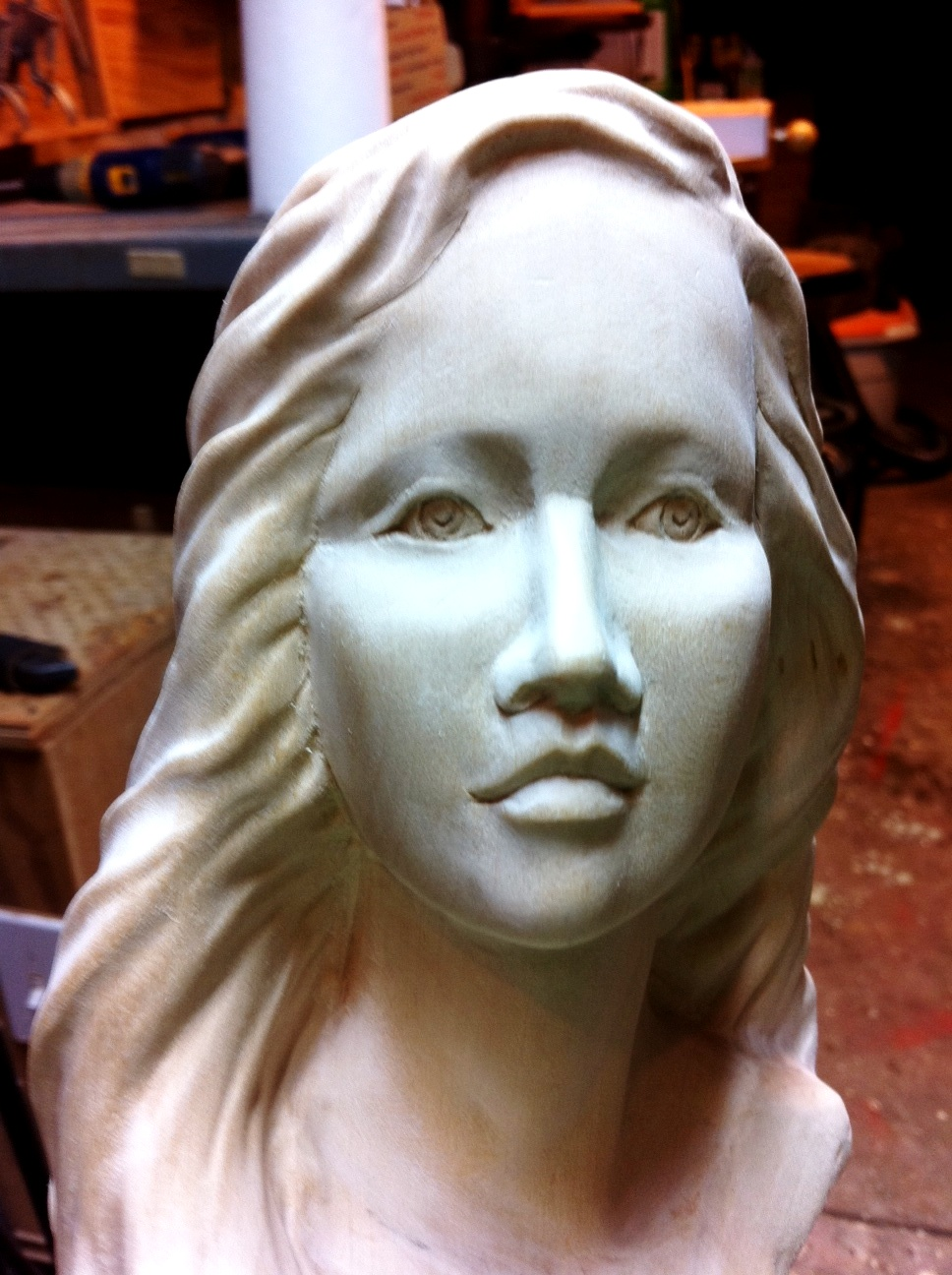 Mike pounders wood carving behind blue eyes progress