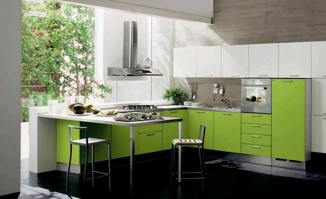 Il bicolore in cucina: verde e bianco lucidi