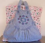 Denim Tote Baby Diaper Bag Flannel & Fleece