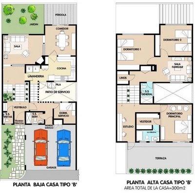 Planos de casa de 2 plantas 300m2 en total planos de for Habitaciones 3d gratis