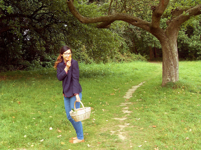 girl, autumn, fall, basket, apples, mocassins, oversize blazer, plaid shirt, vintage, armani, uniqlo, primark, rayban, ponytail, glasses, nature, ragazza, autunno, cesto, mele, mocassini, oversize blazer, camicia a quadri, vintage, armani, Uniqlo, primark, rayban, coda di cavallo, occhiali, natura, blog, fashion blog, fashion blogger