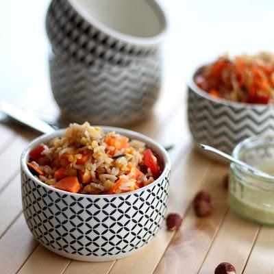 Illustration salade de riz et lentilles de corail