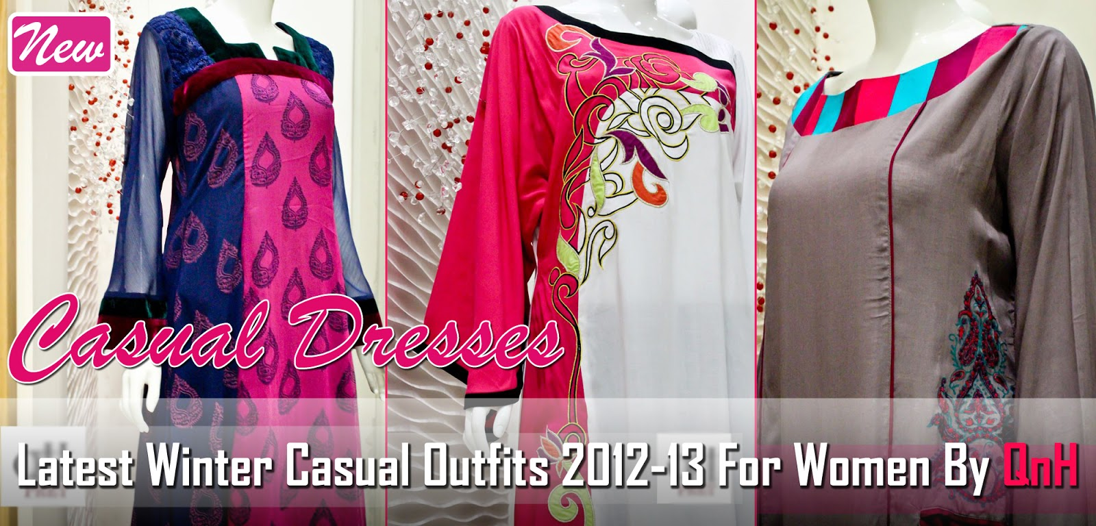 Latest casual outfits 2013 by qnh new winter dresses 2012 13 by qnh qnh party wear outfits Fashion style in pakistan 2013