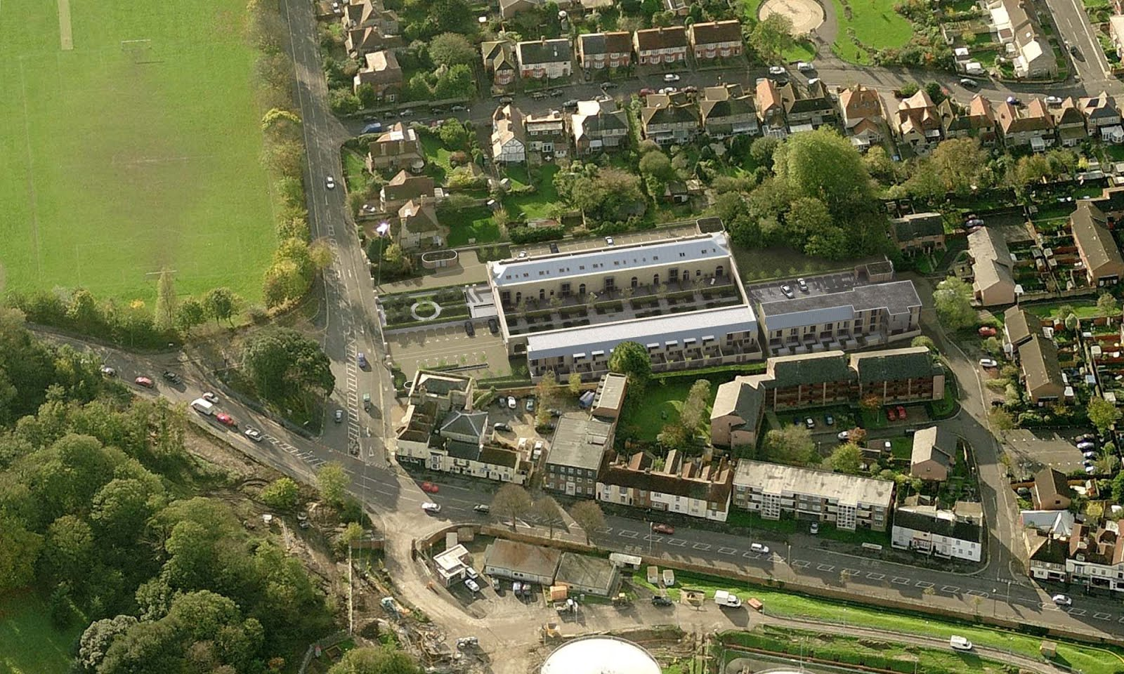 Gosport station from the air