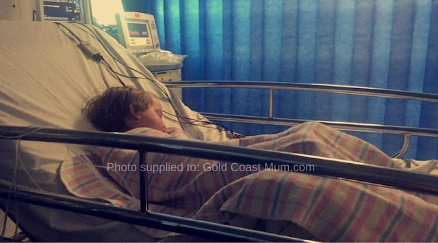 Mia, in hospital after being diagnosed with Type 1 Diabetes. Image supplied to Gold Coast Mum.com