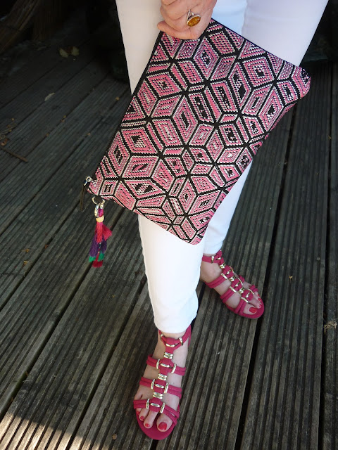 Aztec Clutch Bag & Pink Gladiator Sandals | Petite Silver Vixen