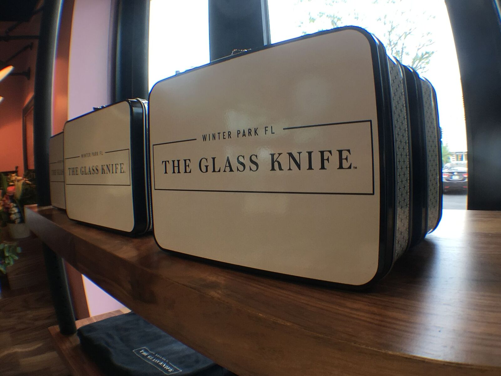 the interior of the glass knife patisserie and café is close to