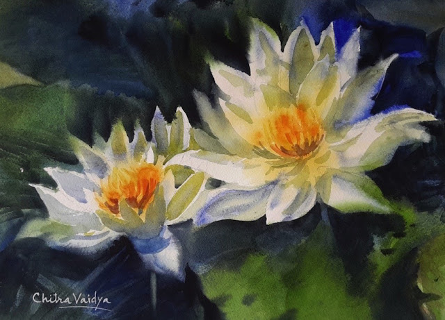 White Lotus Flowers, painting by Chitra Vaidya (part of her portfolio on www.indiaart.com)