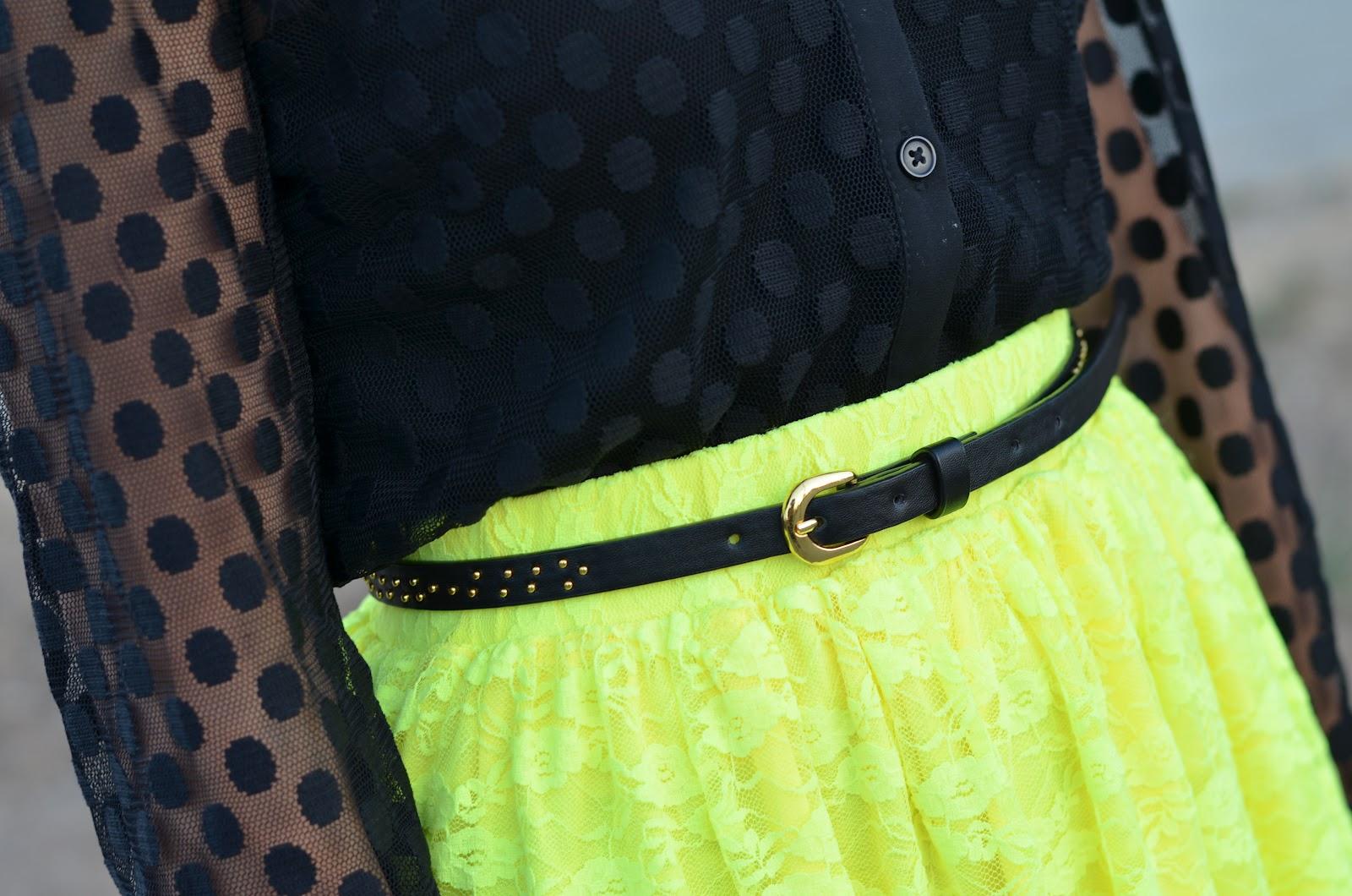 forever 21 black mesh dot blouse, forever 21 mesh dot blouse, forever 21 black sheer dot blouse, forever 21 sheer dot blouse, urban outfitters neon yellow lace skirt, urban outfitters neon yellow skirt, pins and needles neon yellow lace skirt, pins and needles neon skirt, sam edelman quinn