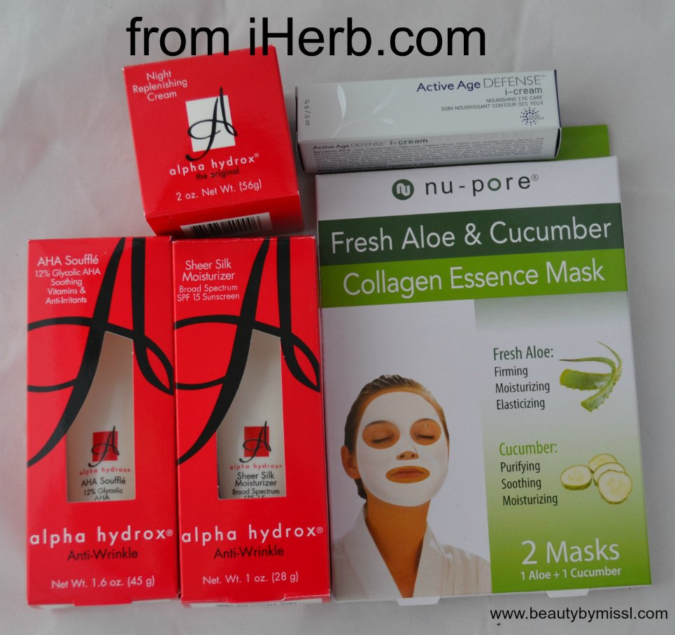 Alpha Hydrox products, Active Age Defense i-cream, nu-pore Fresh Aloe & Cucumber Mask