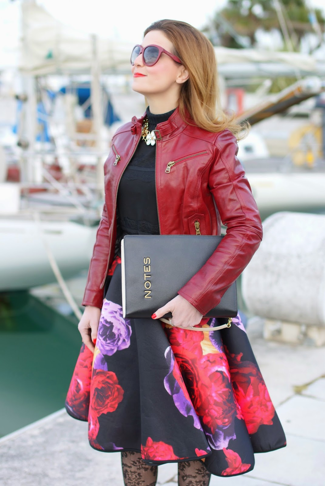 full flower print midi skirt , red leather jacket, Moschino notes bag, Fashion and Cookies, fashion blogger