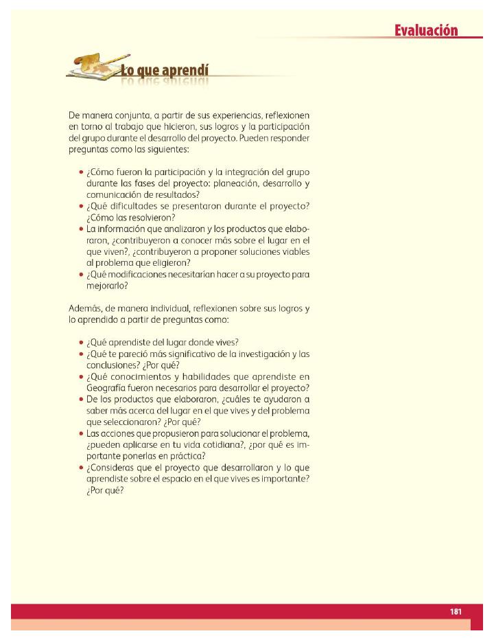 Lo que aprendí - Geografía 4to Bloque 5 2014-2015