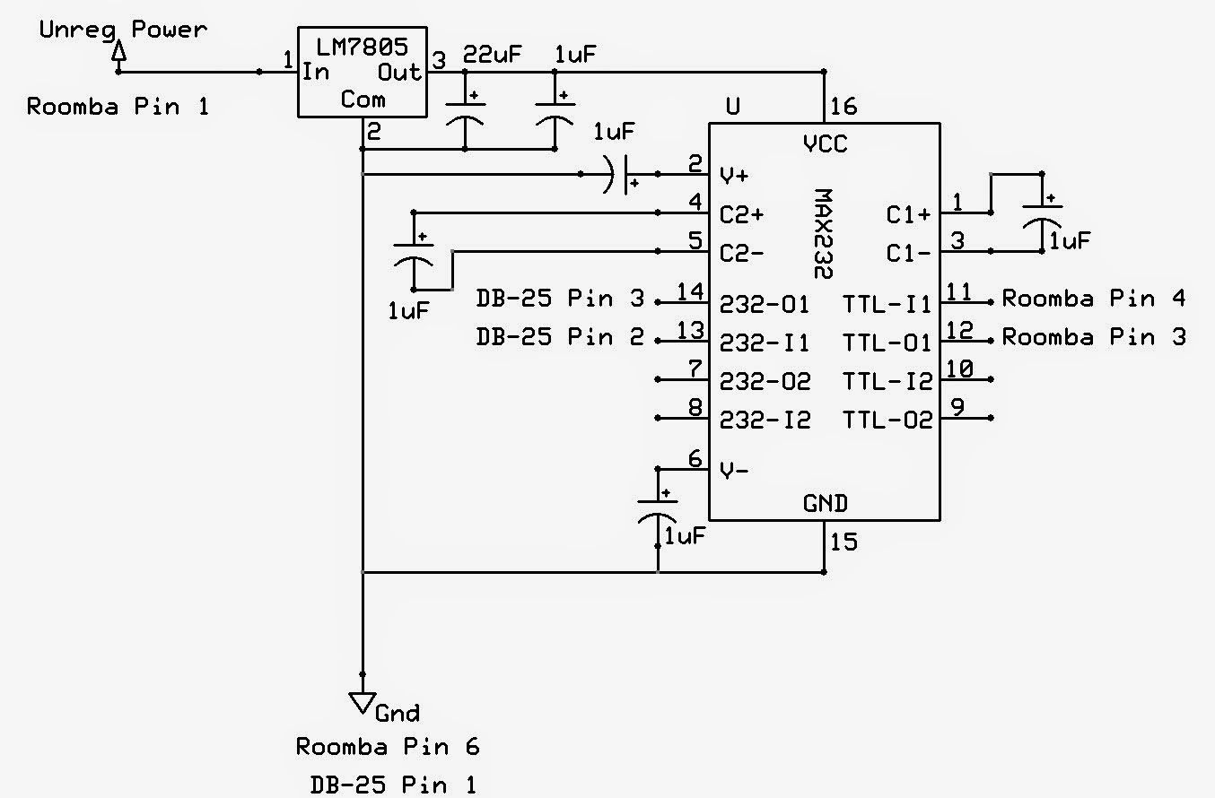 All Things Mike Roomba Hack Part Iii Ttl To Rs232 Converter By Max232 Was That The Tandys Serial Port Used Rs 232 Level Signals For Its Communication I Could Remedy This Using A Such As Ic