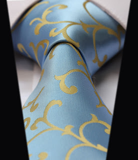 TF2001Y Yellow Blue Floral 100%Silk Classic Jacquard Woven Man's Tie Necktie