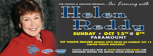 poster - Helen Reddy will make her Provincetown debut at the &A! One show only, Oct 13!