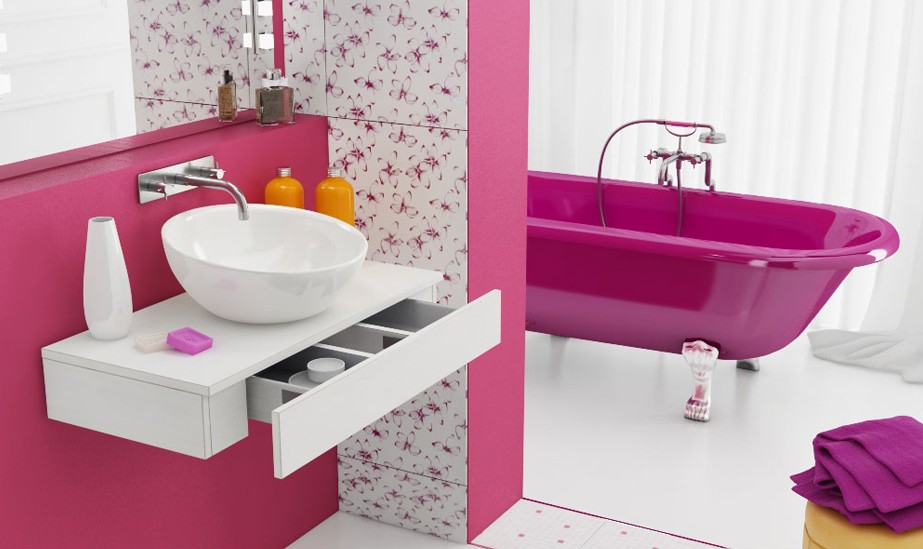 Color Explosion If Youre Really Into Pink Or Any Other Say It Loud And Proud Not Only With An Accent Wall But A Magnificently Magenta Tub