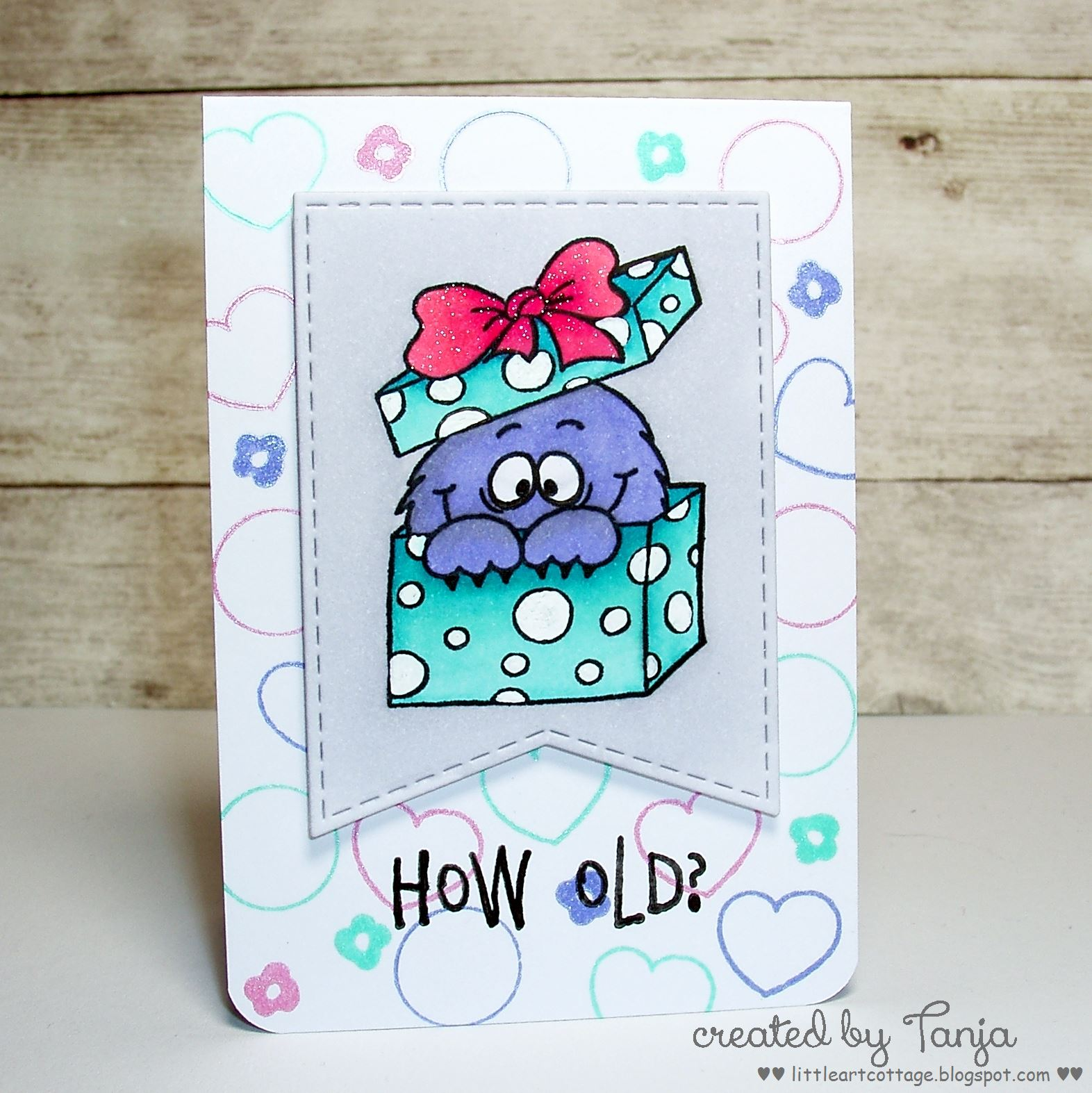 Cut Out A Stitched Banner And Stamp The Monster In Box From Gerda Steiner Designs Party Set With Memento Tuxedo Black Color