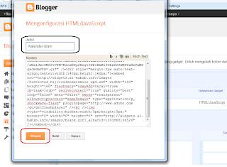 Menambahkan kode Html/javascrip