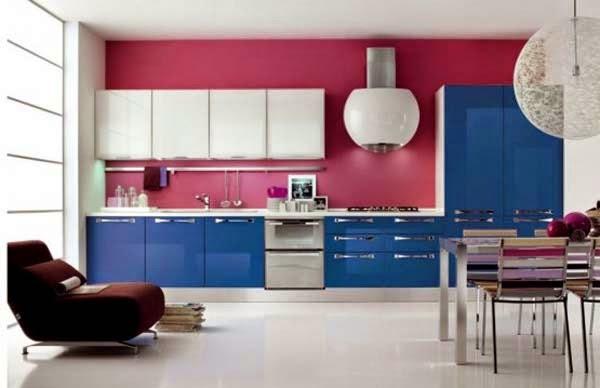 ديكور مطبخ وردي وأزرق