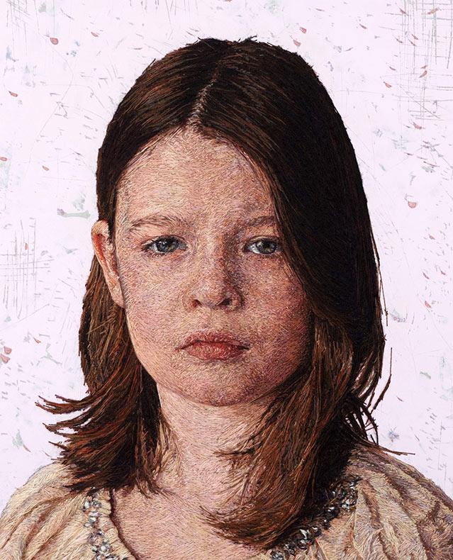 Pinturas de hilos: Retratos densamente bordados de Cayce Zavagliaby
