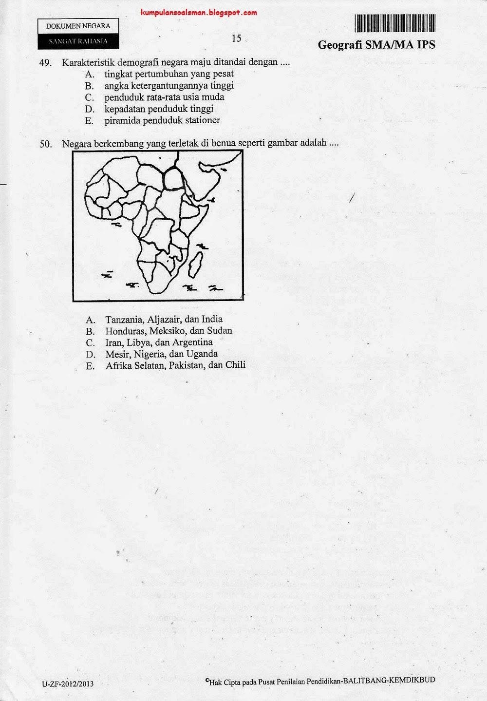 Prediksi Soal Un Us Try Out Geografi Kelas 3 Sma Ips Kode 7 Ta 2012 2013 Download Soal Sma Ma