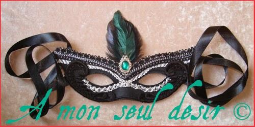 Masque Loup Dentelle Noir Venise Gothique Victorien Plumes Victorian Gothic Goth Black Lace Mask Feathers