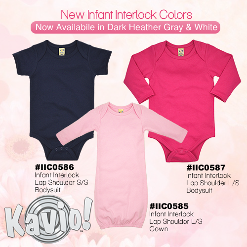 Infant Interlock Lap Shoulder Short Sleeve Long Sleeve Bodysuits and Long Sleeve Gowns