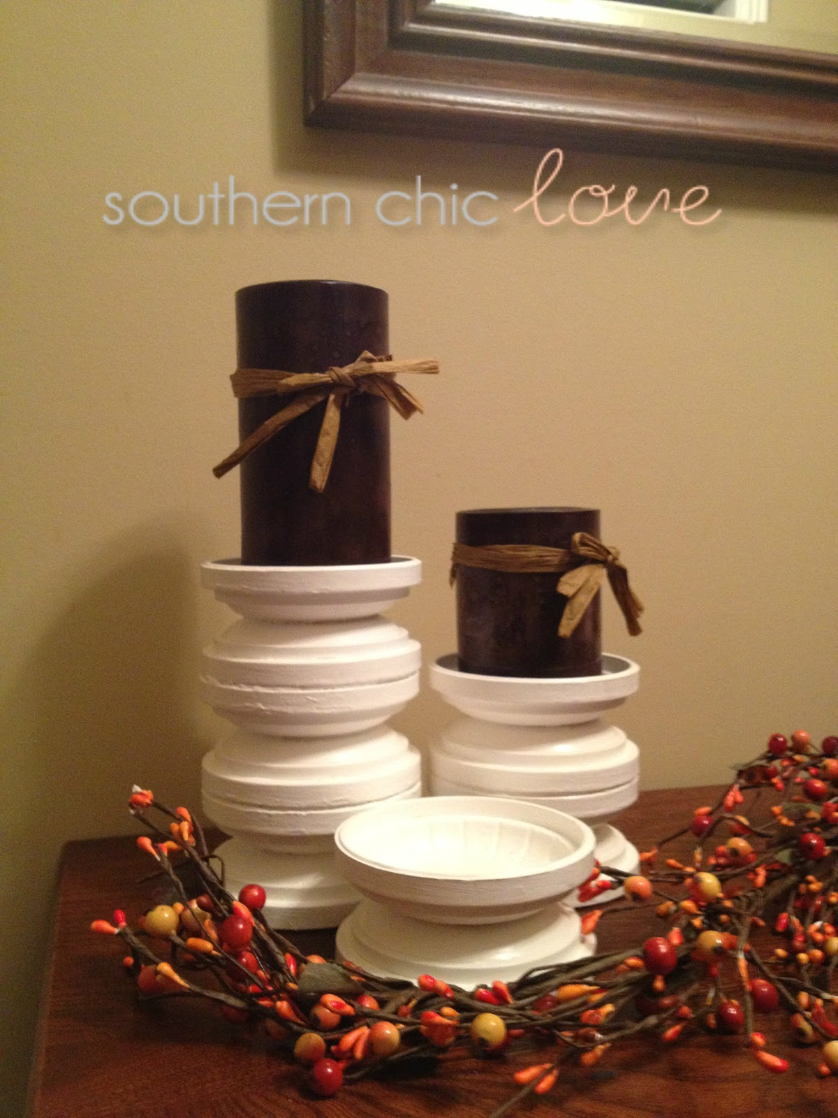 southern chic love diy candle holders. Black Bedroom Furniture Sets. Home Design Ideas