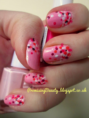 Pink polka dots nail art. Orange, pink and purple spotty manicure for summer, spring or valentine's day! Super cute nails.