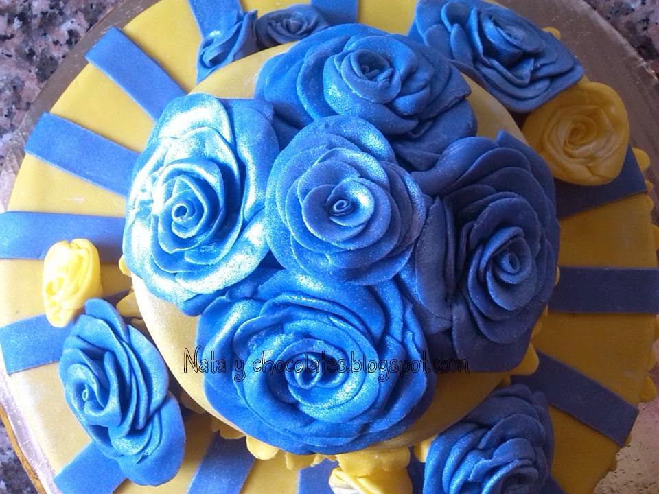 Tarta fondant de rosas