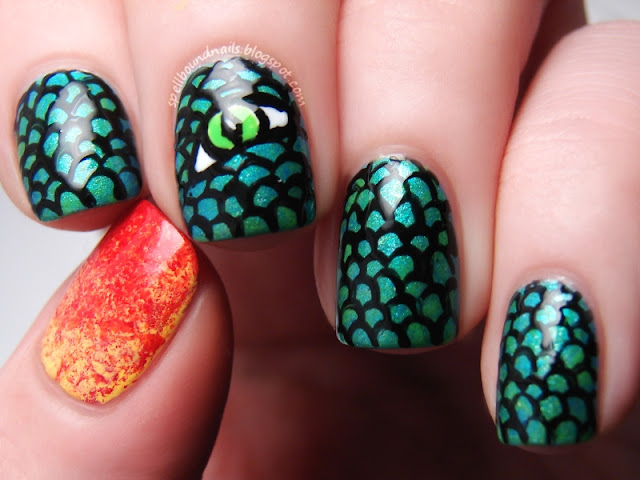 Time Periods nail art Challenge Medieval Dragon scales eye flame fire breathing saran wrap Spellbound Nails shimmer neon green teal blue red yellow orange Sally Hansen Savvy NYC New York Color China Glaze Adventure Red-y freehand hand drawn
