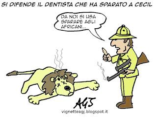 Cecil the Lion, polizia americana, satira, vignetta