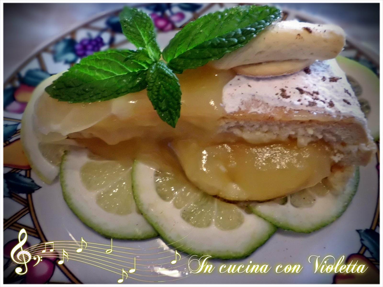 torta al limone con crema di alloro e cannella